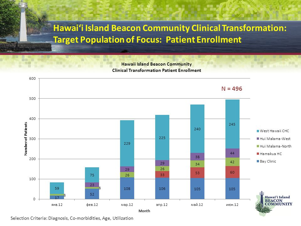 Hawai'i Island Beacon Community Clinical Transformation: Target Population of Focus: Patient Enrollment
