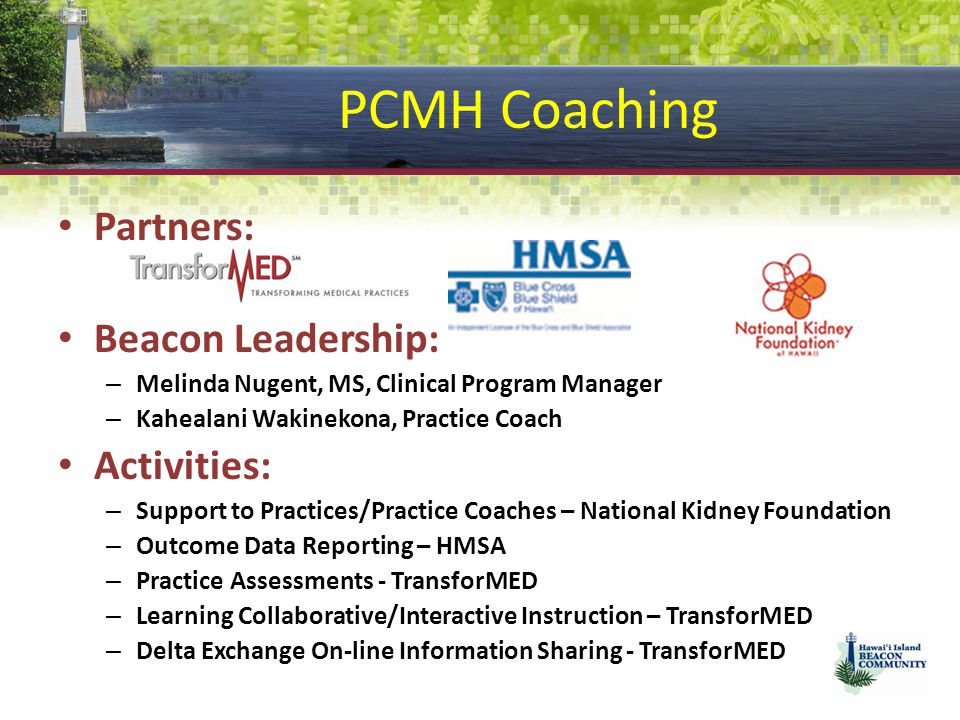 PCMH Coaching Partners: Beacon Leadership: Activities: