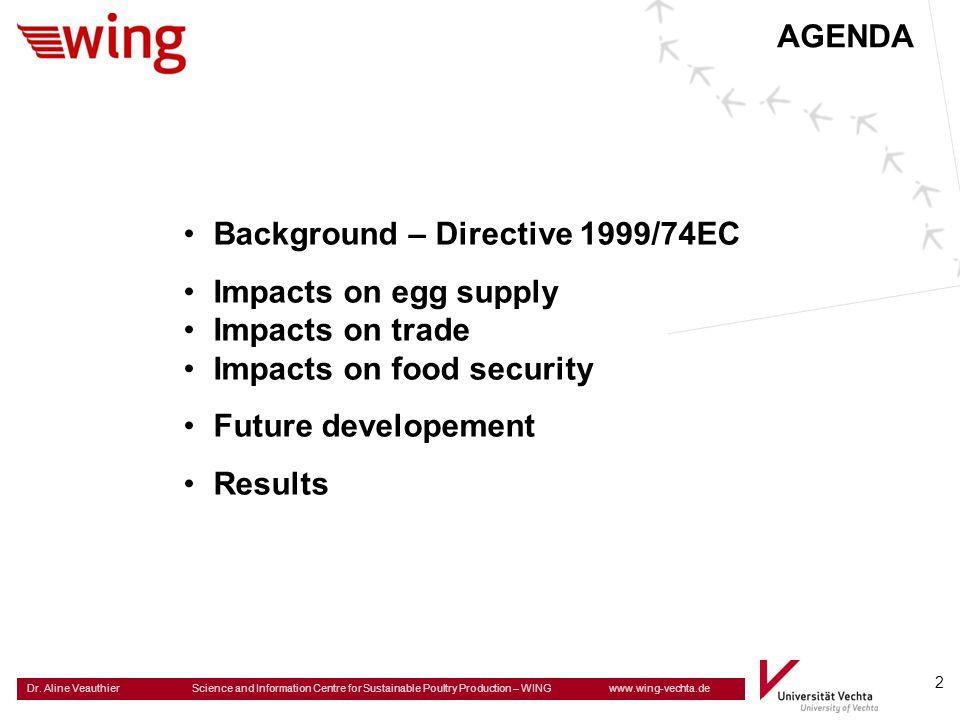 AGENDA Background – Directive 1999/74EC. Impacts on egg supply. Impacts on trade. Impacts on food security.