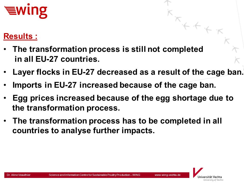 Results : The transformation process is still not completed. in all EU-27 countries. Layer flocks in EU-27 decreased as a result of the cage ban.