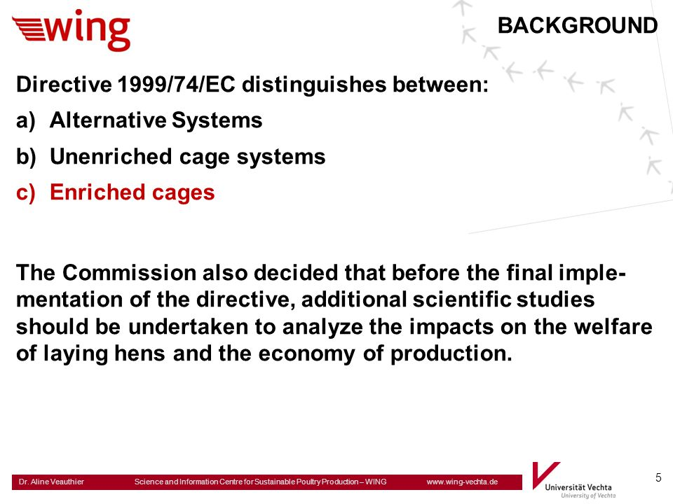 BACKGROUND Directive 1999/74/EC distinguishes between: Alternative Systems. Unenriched cage systems.