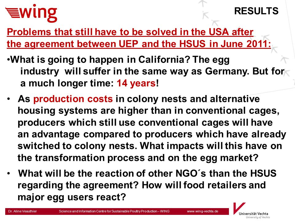 RESULTS Problems that still have to be solved in the USA after. the agreement between UEP and the HSUS in June 2011: