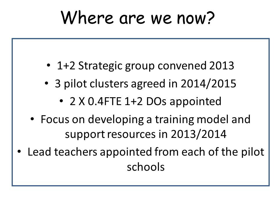 Where are we now 1+2 Strategic group convened 2013