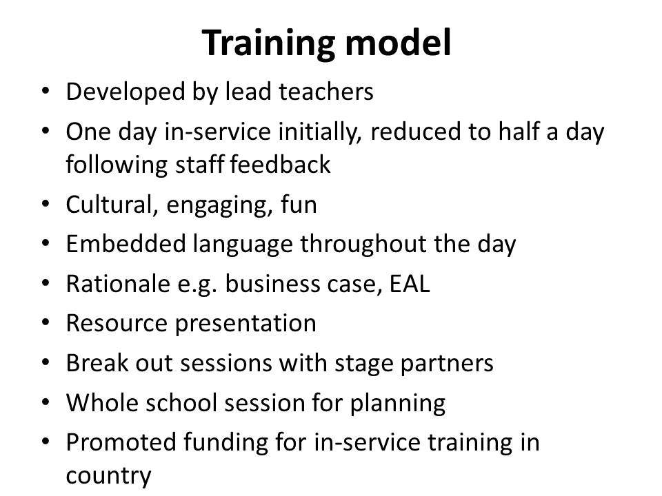 Training model Developed by lead teachers