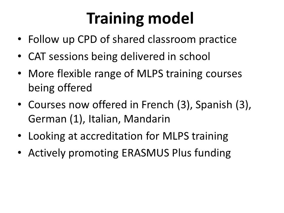 Training model Follow up CPD of shared classroom practice