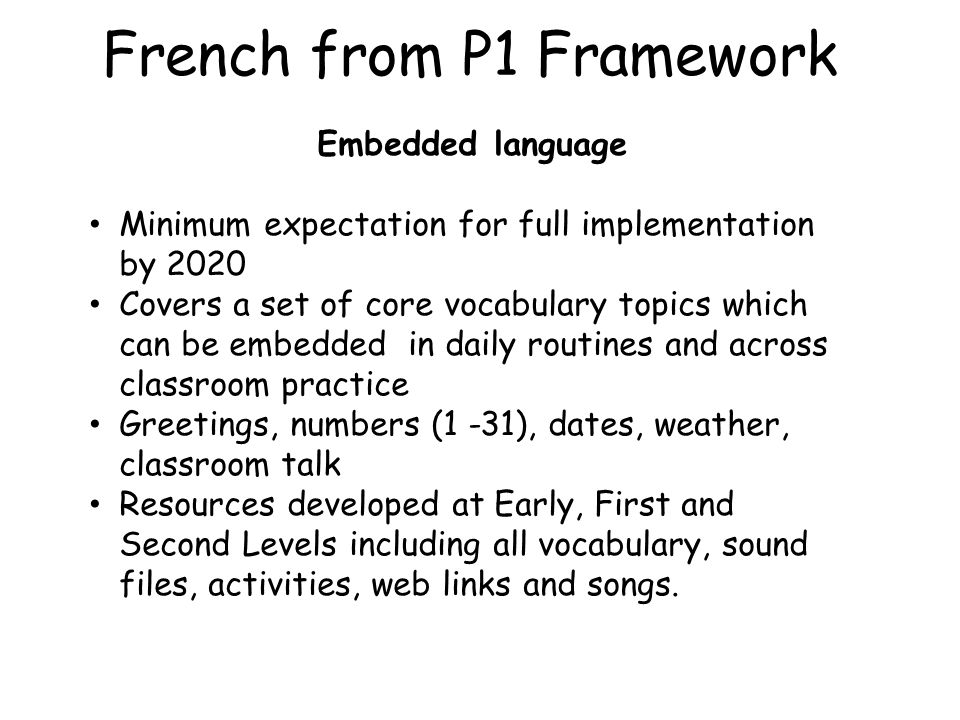 French from P1 Framework