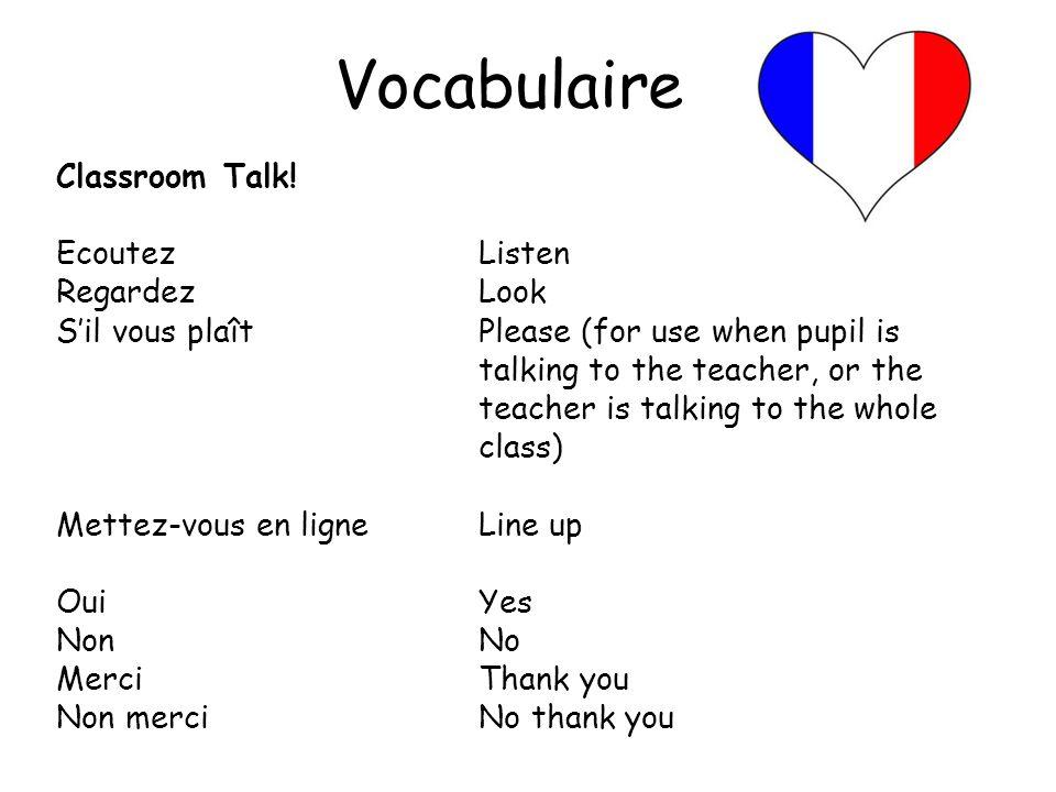 Vocabulaire Classroom Talk! Ecoutez Listen Regardez Look