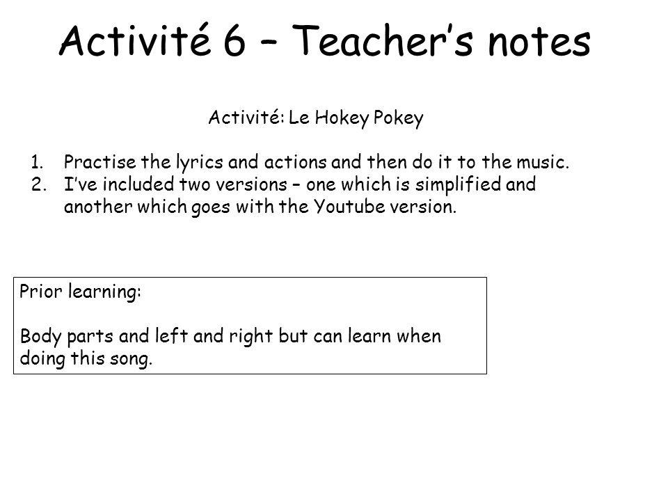Activité 6 – Teacher's notes