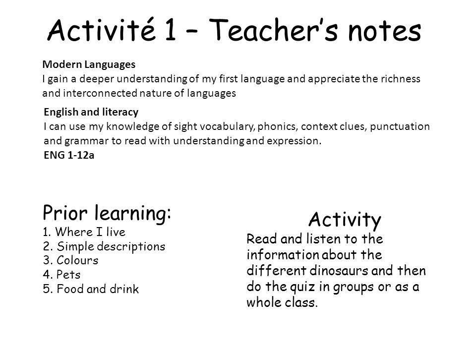 Activité 1 – Teacher's notes