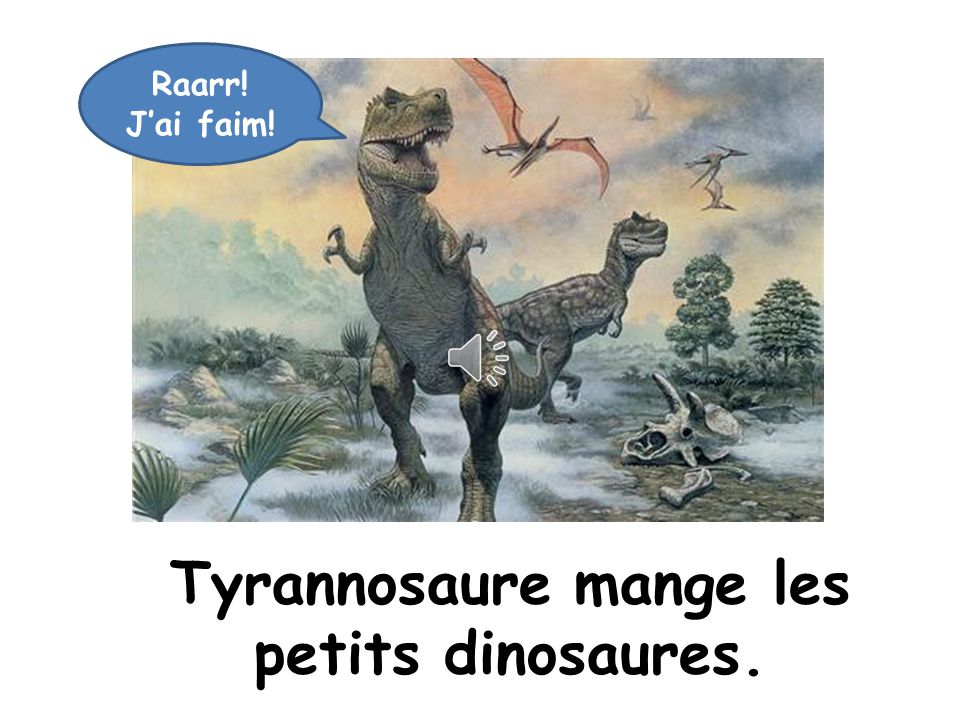Tyrannosaure mange les petits dinosaures.