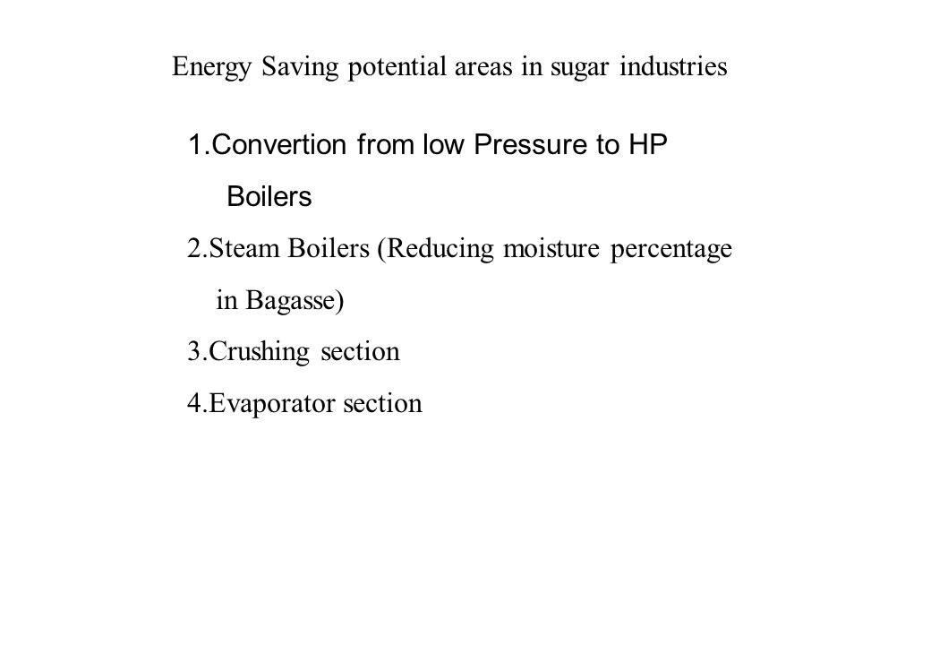 Energy Saving potential areas in sugar industries