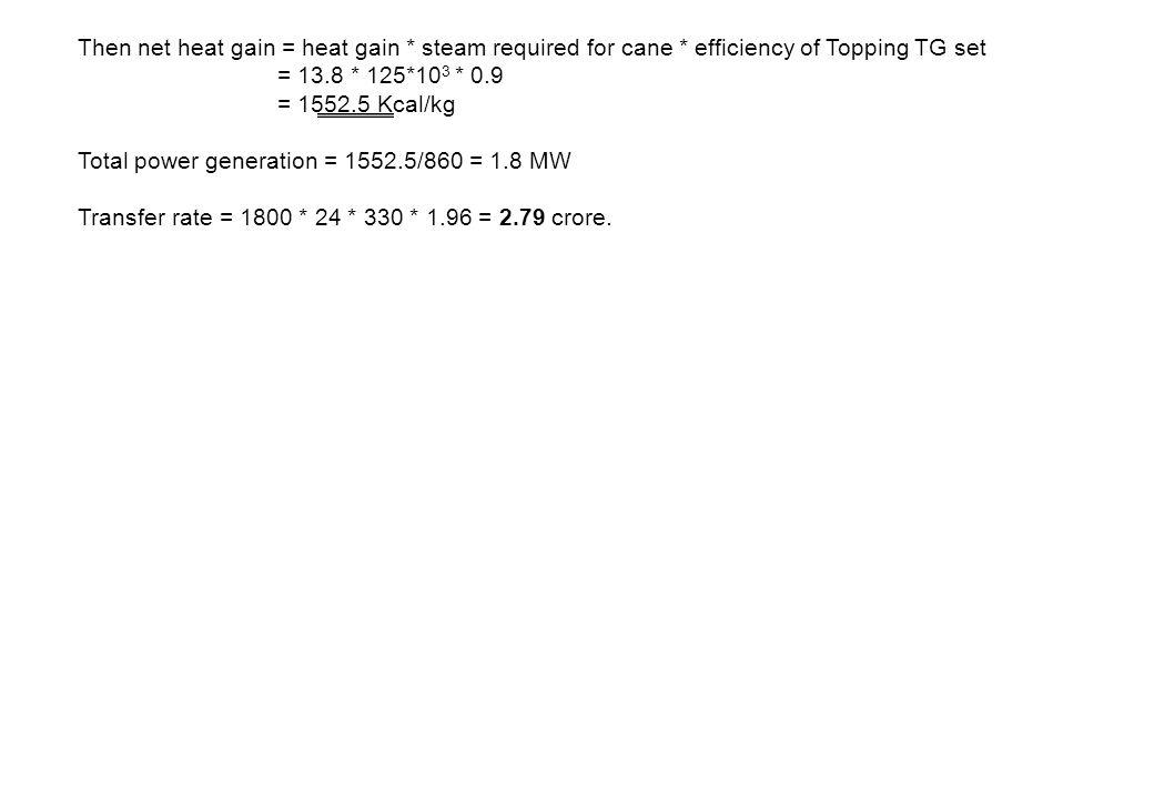 Then net heat gain = heat gain. steam required for cane