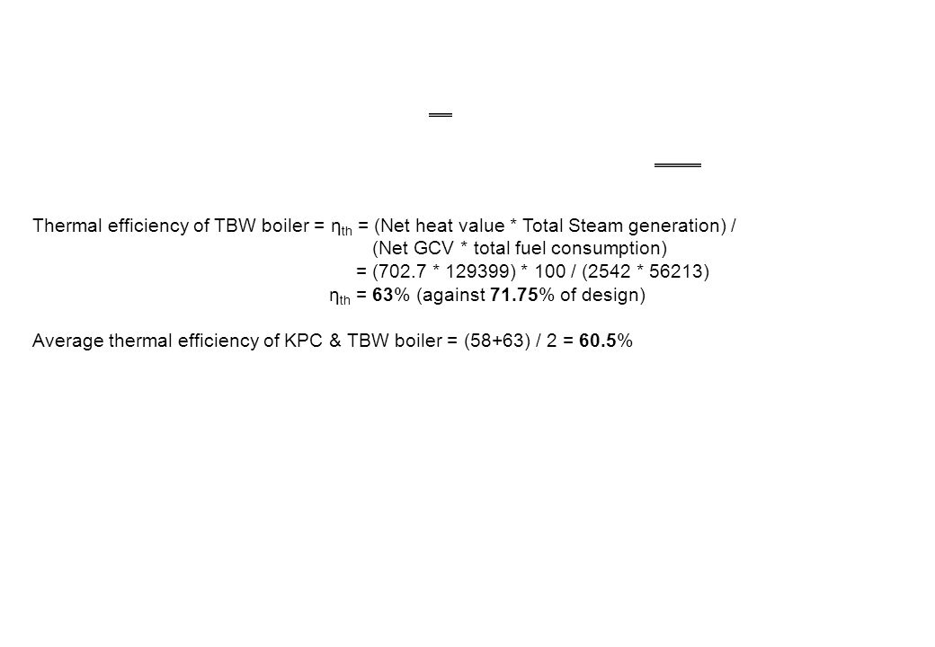 Thermal efficiency of TBW boiler = ηth = (Net heat value
