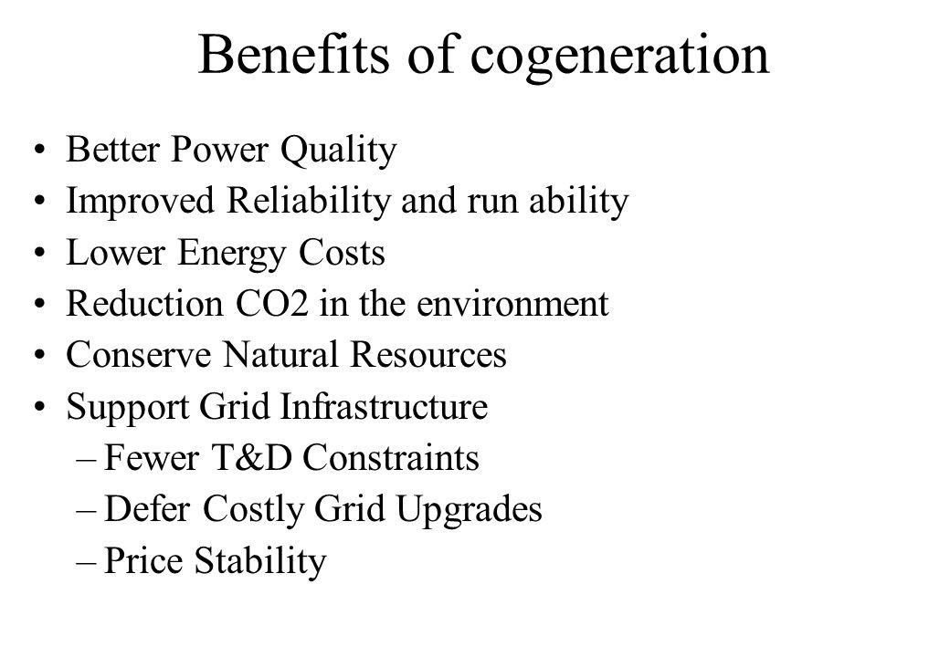 Benefits of cogeneration
