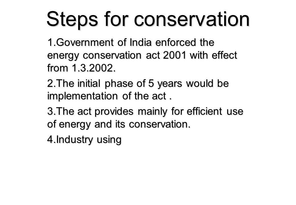 Steps for conservation