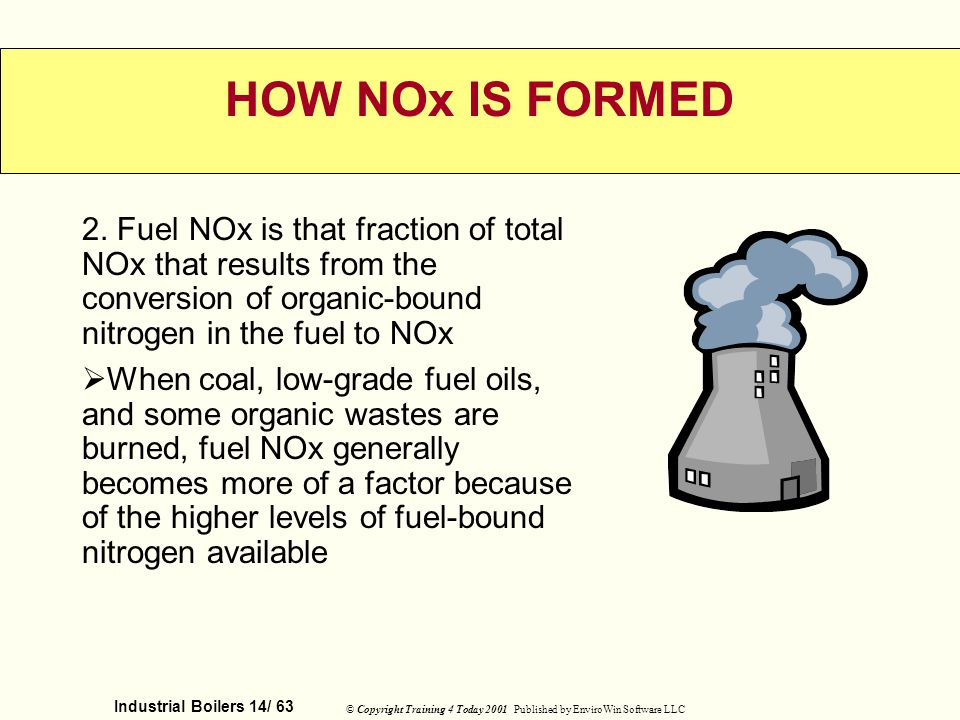 HOW NOx IS FORMED 2. Fuel NOx is that fraction of total NOx that results from the conversion of organic-bound nitrogen in the fuel to NOx.
