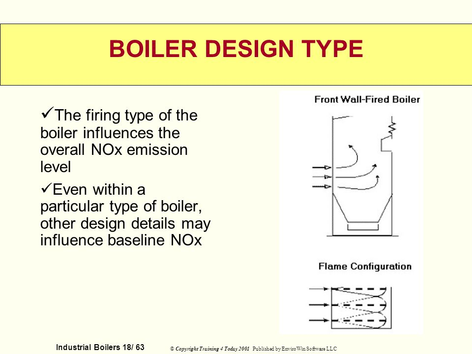 BOILER DESIGN TYPE The firing type of the boiler influences the overall NOx emission level.