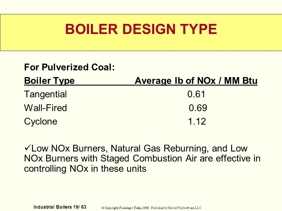 BOILER DESIGN TYPE For Pulverized Coal: