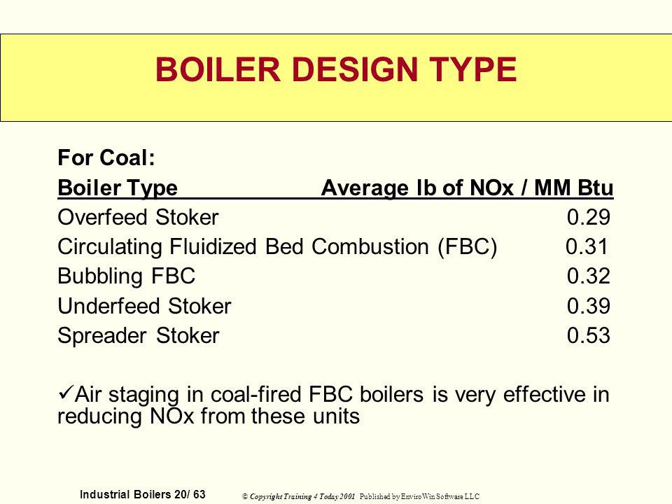 BOILER DESIGN TYPE For Coal: Boiler Type Average lb of NOx / MM Btu