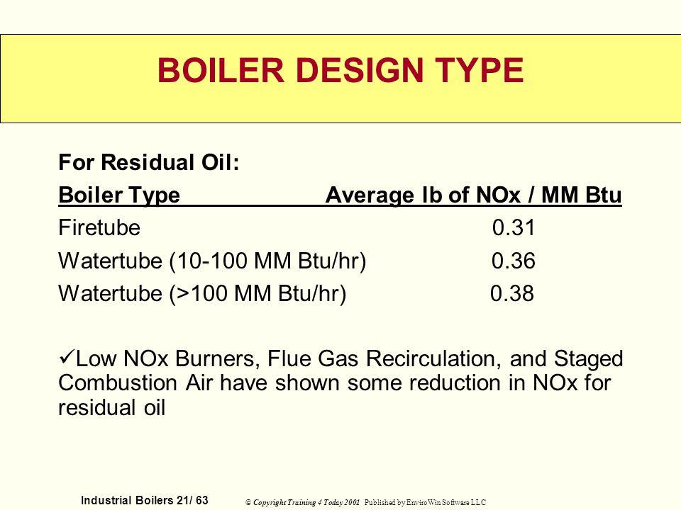 BOILER DESIGN TYPE For Residual Oil: