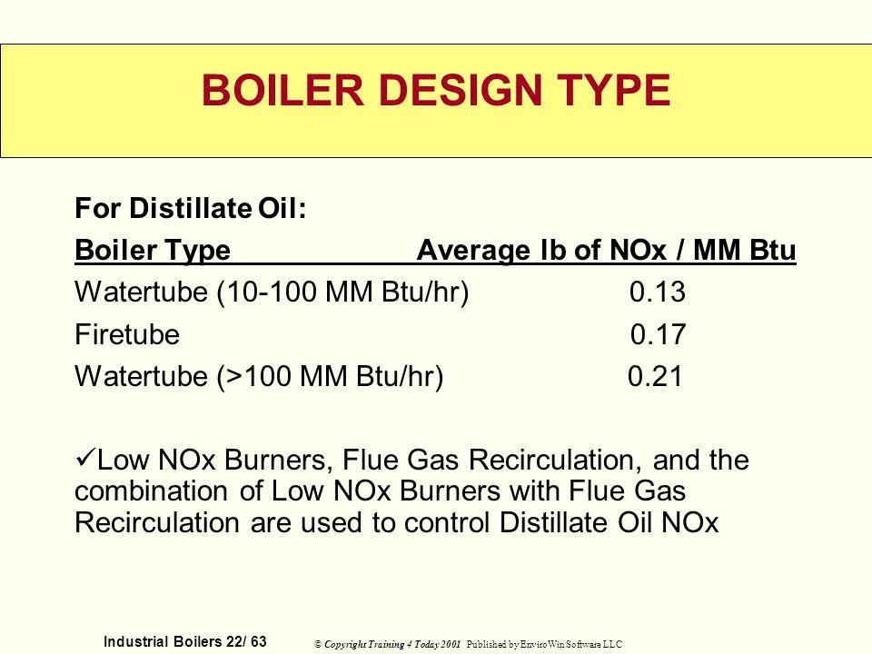 BOILER DESIGN TYPE For Distillate Oil: