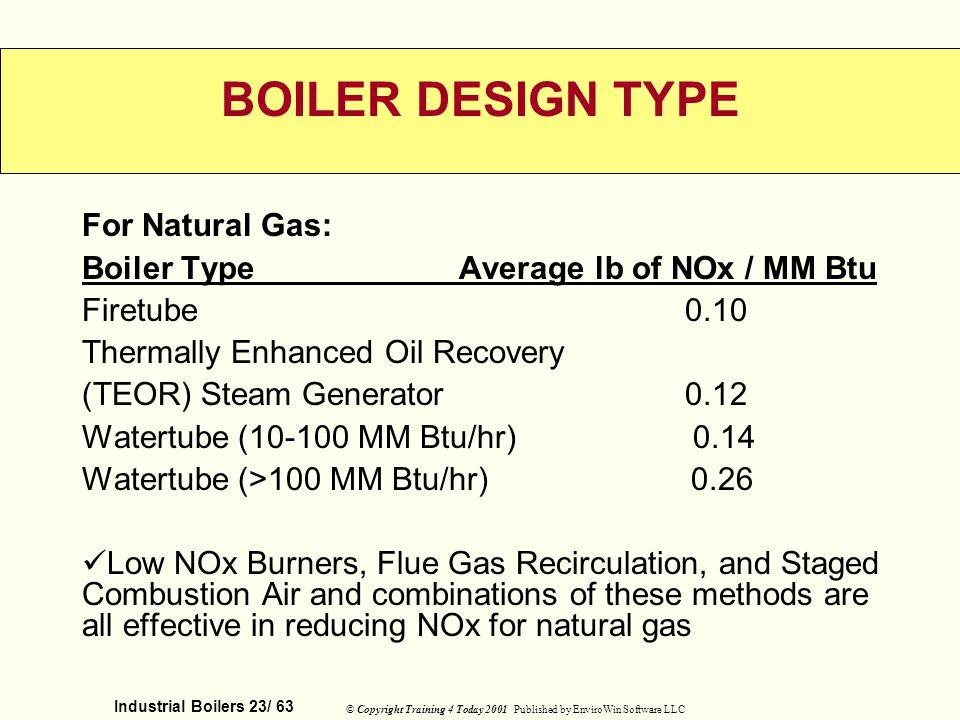 BOILER DESIGN TYPE For Natural Gas: