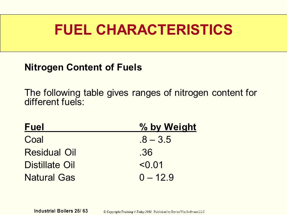FUEL CHARACTERISTICS Nitrogen Content of Fuels