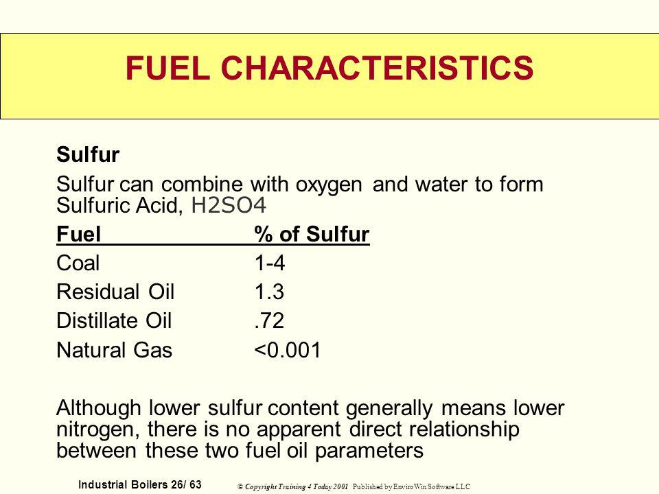 FUEL CHARACTERISTICS Sulfur