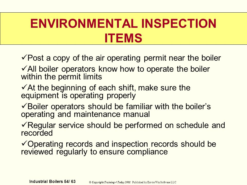 ENVIRONMENTAL INSPECTION ITEMS