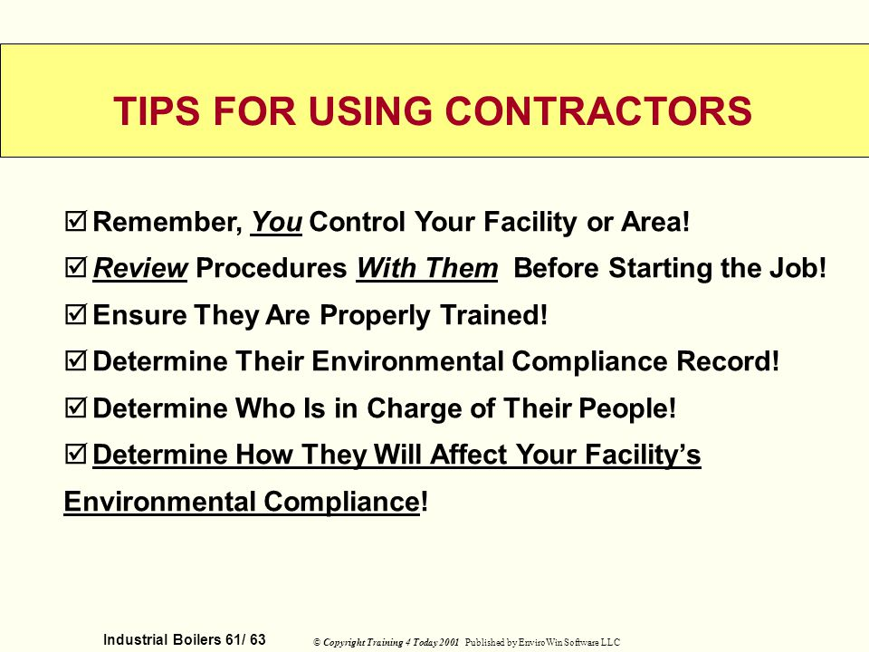 TIPS FOR USING CONTRACTORS