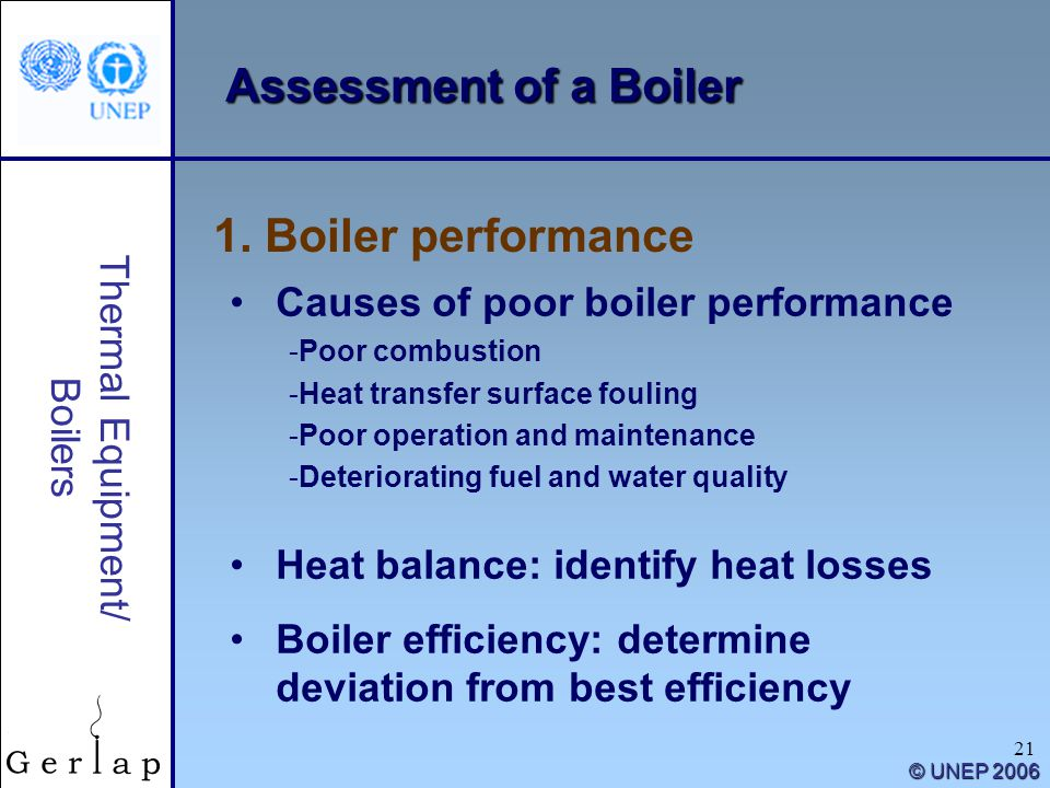 Assessment of a Boiler 1. Boiler performance