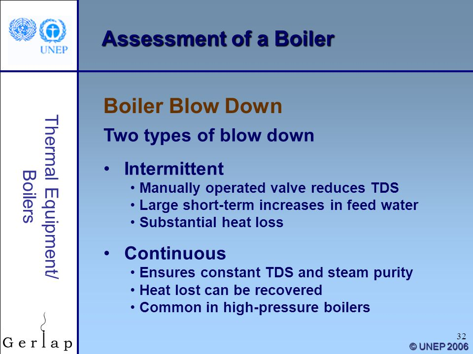 Assessment of a Boiler Boiler Blow Down Two types of blow down