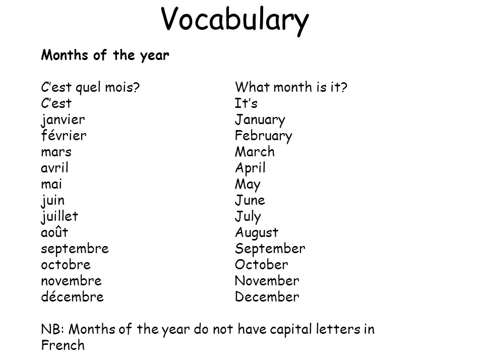 Vocabulary Months of the year C'est quel mois What month is it