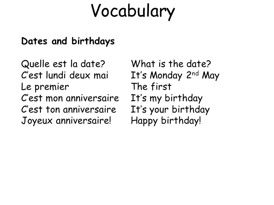 Vocabulary Dates and birthdays Quelle est la date What is the date