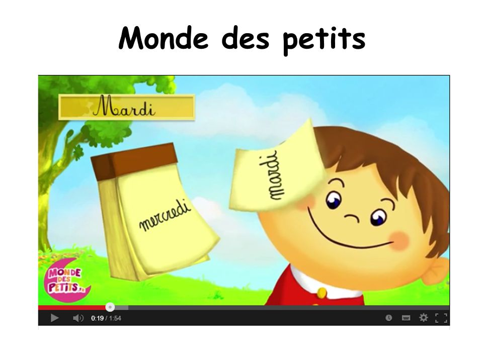 Monde des petits Links to an animated video and a song for days of the week.