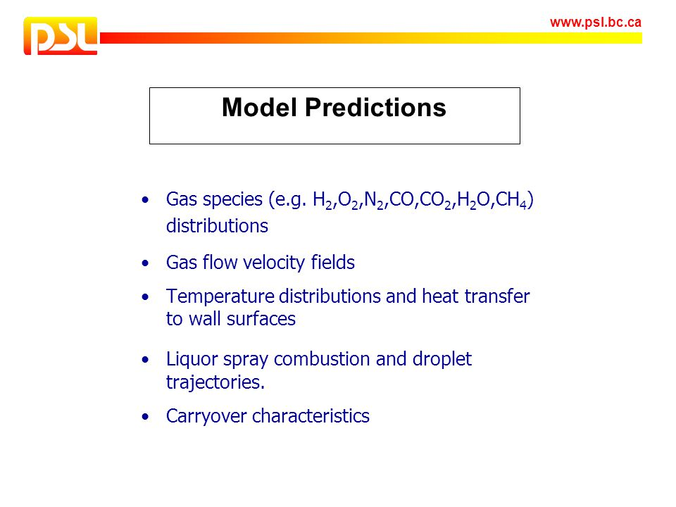 Model Predictions Gas species (e.g. H2,O2,N2,CO,CO2,H2O,CH4) distributions. Gas flow velocity fields.