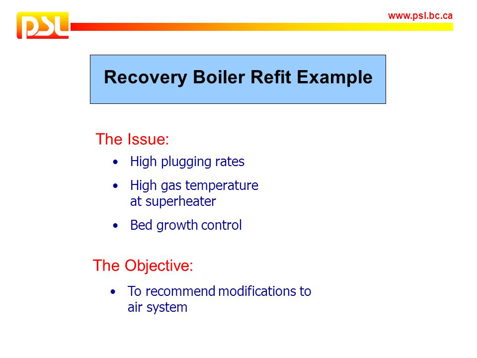 Recovery Boiler Refit Example