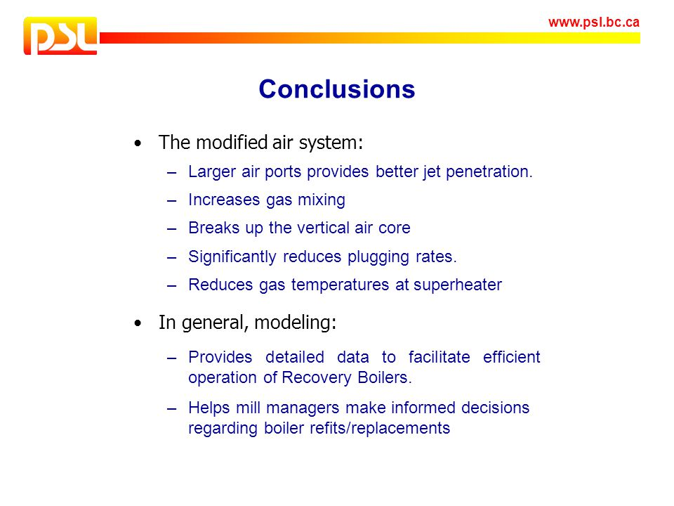 Conclusions The modified air system: In general, modeling: