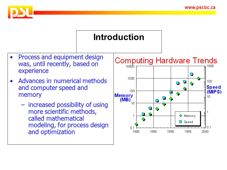 Introduction Process and equipment design was, until recently, based on experience. Advances in numerical methods and computer speed and memory.
