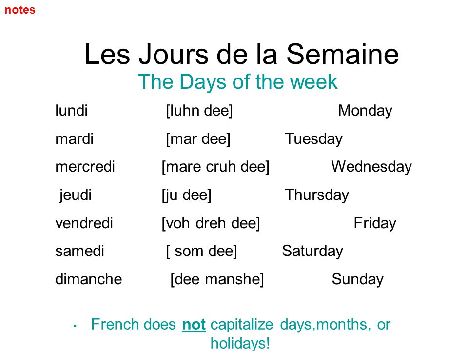 French does not capitalize days,months, or holidays!
