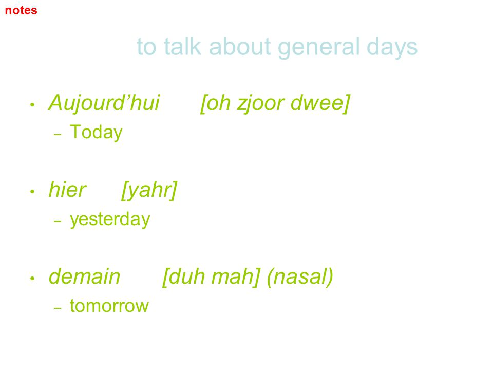 to talk about general days