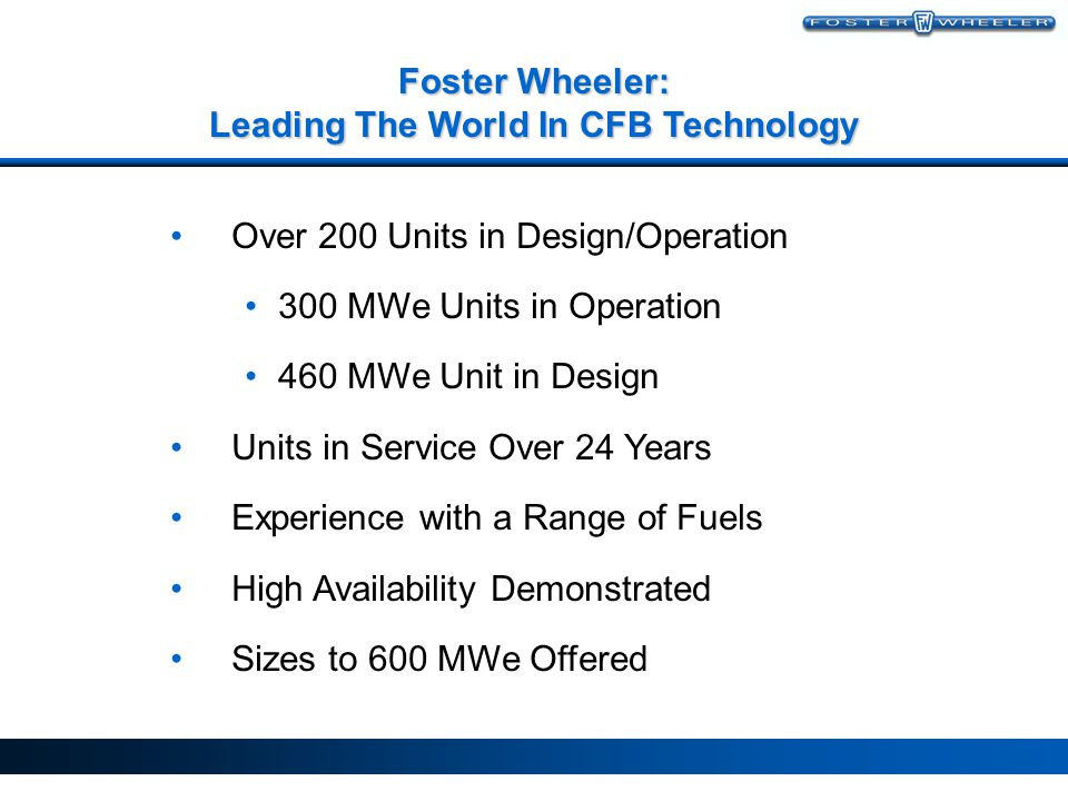 Foster Wheeler: Leading The World In CFB Technology