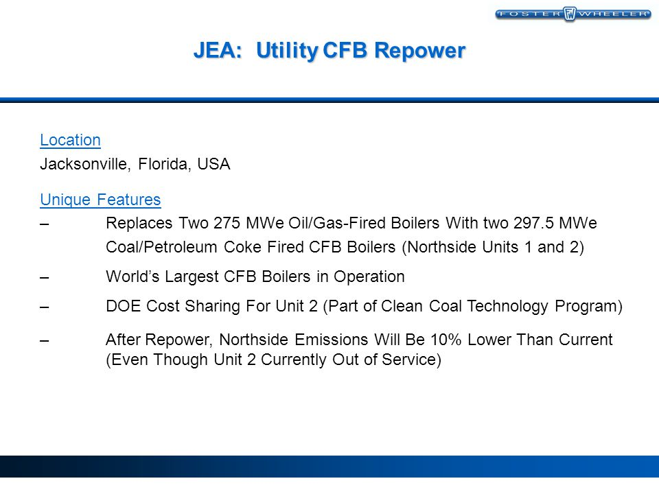 JEA: Utility CFB Repower