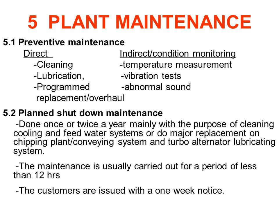 5 PLANT MAINTENANCE 5.1 Preventive maintenance