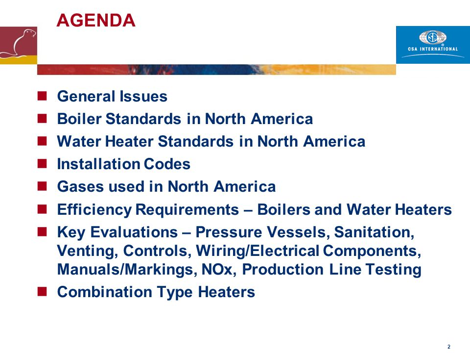 AGENDA General Issues Boiler Standards in North America