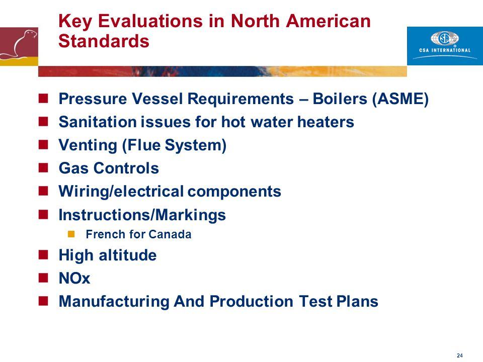 Key Evaluations in North American Standards
