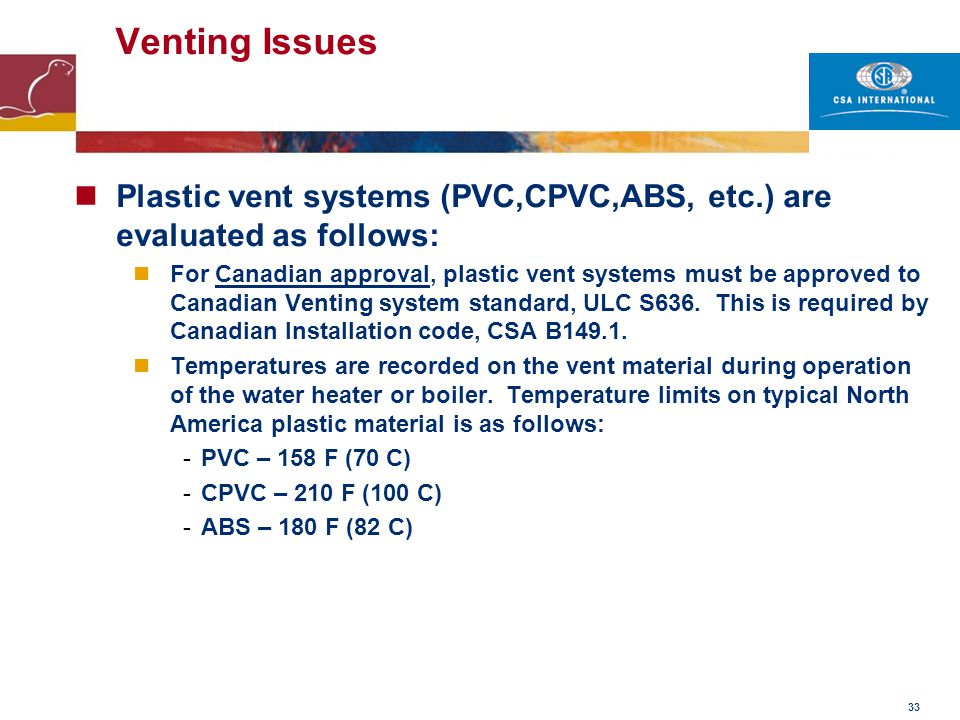 Venting Issues Plastic vent systems (PVC,CPVC,ABS, etc.) are evaluated as follows: