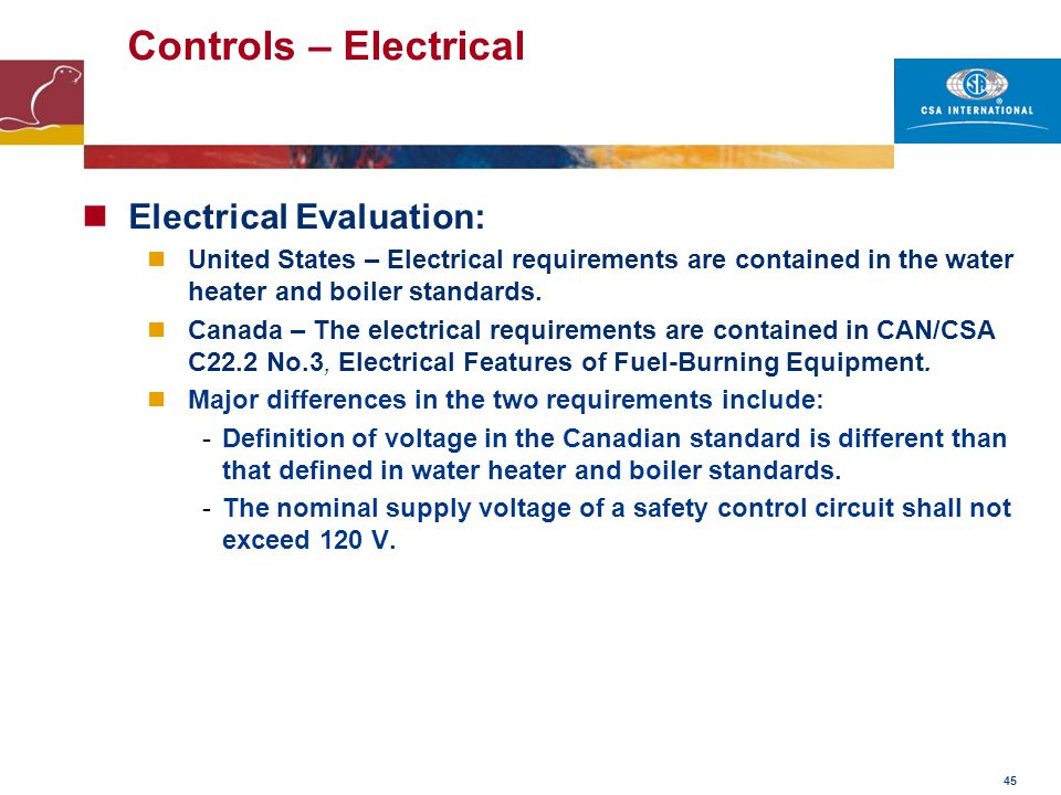 Controls – Electrical Electrical Evaluation: