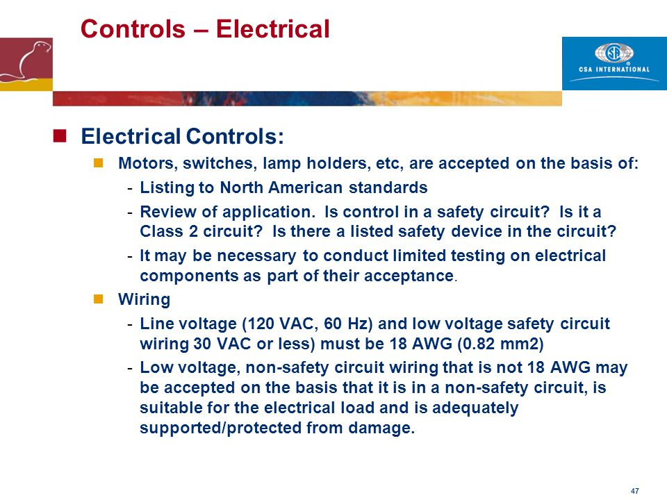 Controls – Electrical Electrical Controls: