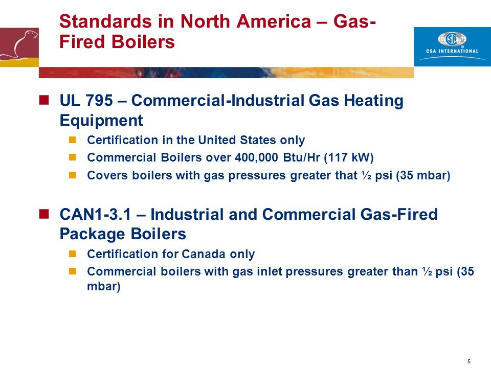 Standards in North America – Gas-Fired Boilers